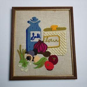 Vintage Crewel Kitchen Food Framed Art Vegetable